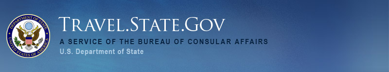 Image of the U.S. State Department Travel.State.Gov website header
